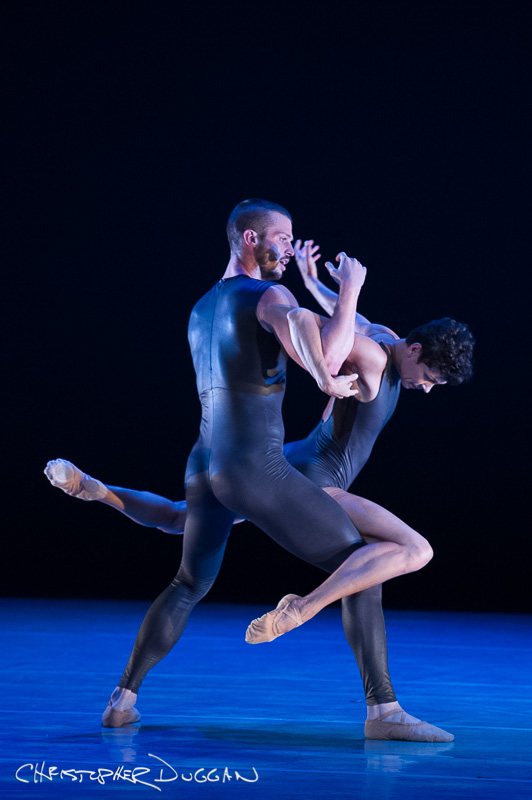 "Robb Beresford and Kara Wilkes of Alonzo King's Lines Ballet in ""Biophony"" at Jacob's Pillow by Christopher Duggan"